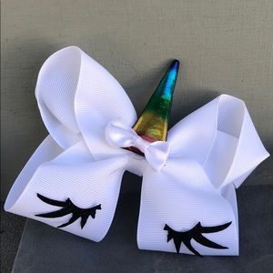 New! Unicorn White Cheer Bow. Rainbow Horn